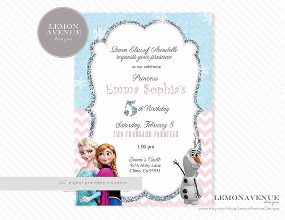 Custom Frozen Birthday Invitations Beautiful Frozen Invitation Custom Frozen Invitation Birthday Party