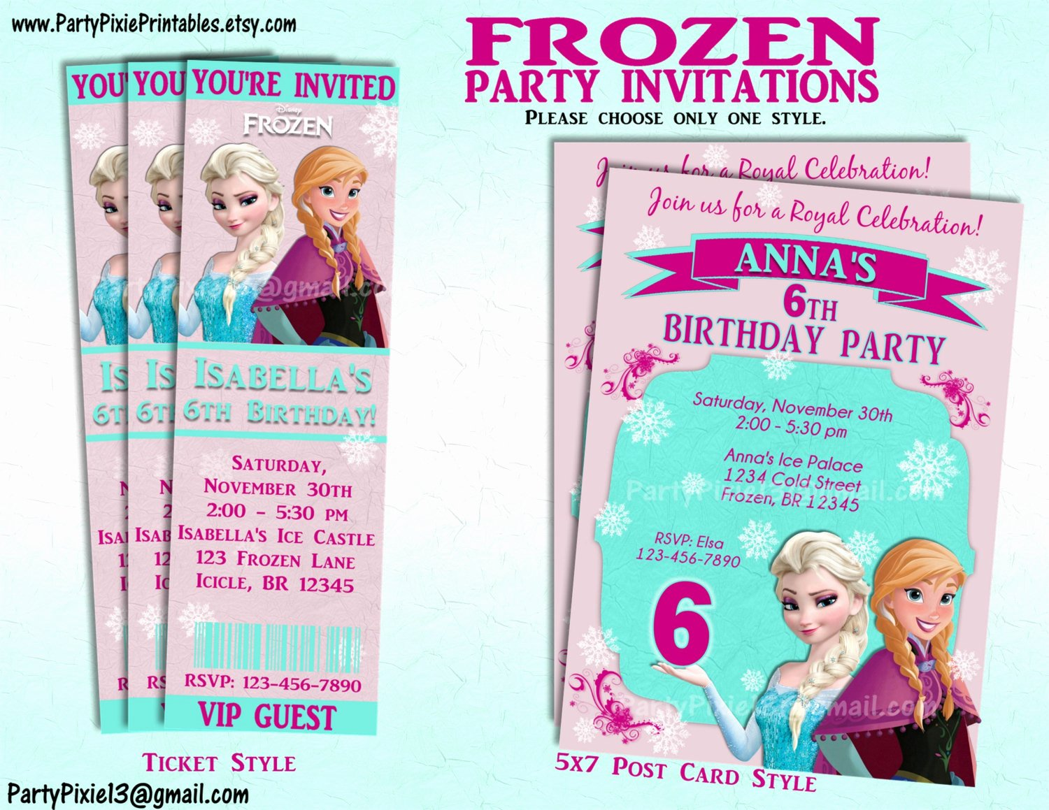 Custom Frozen Birthday Invitations Best Of Disney Frozen Party Invitation and or Party Package Printable