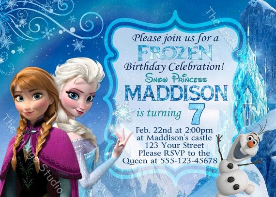 Custom Frozen Birthday Invitations Fresh Frozen Birthday Party Invitation Invite Card