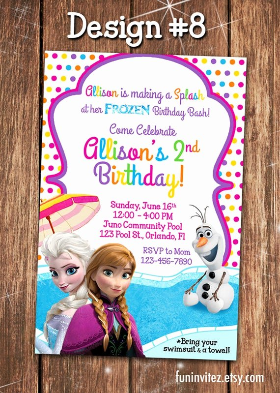 Custom Frozen Birthday Invitations Inspirational Frozen Custom Anna Elsa Olaf Summer Pool Swim Birthday Party