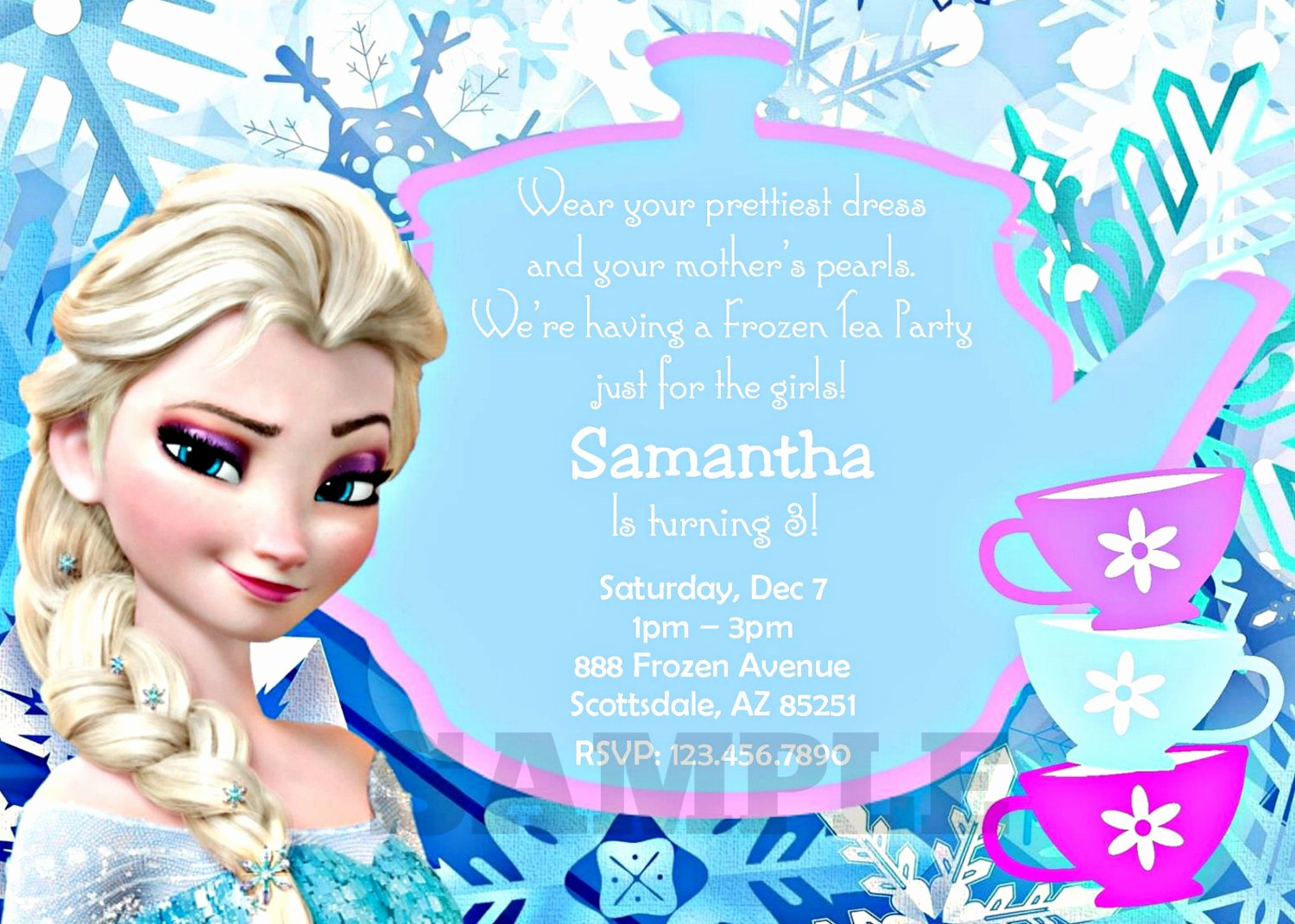 Custom Frozen Birthday Invitations Inspirational Frozen Invitation Printable Frozen Tea Party Inspired