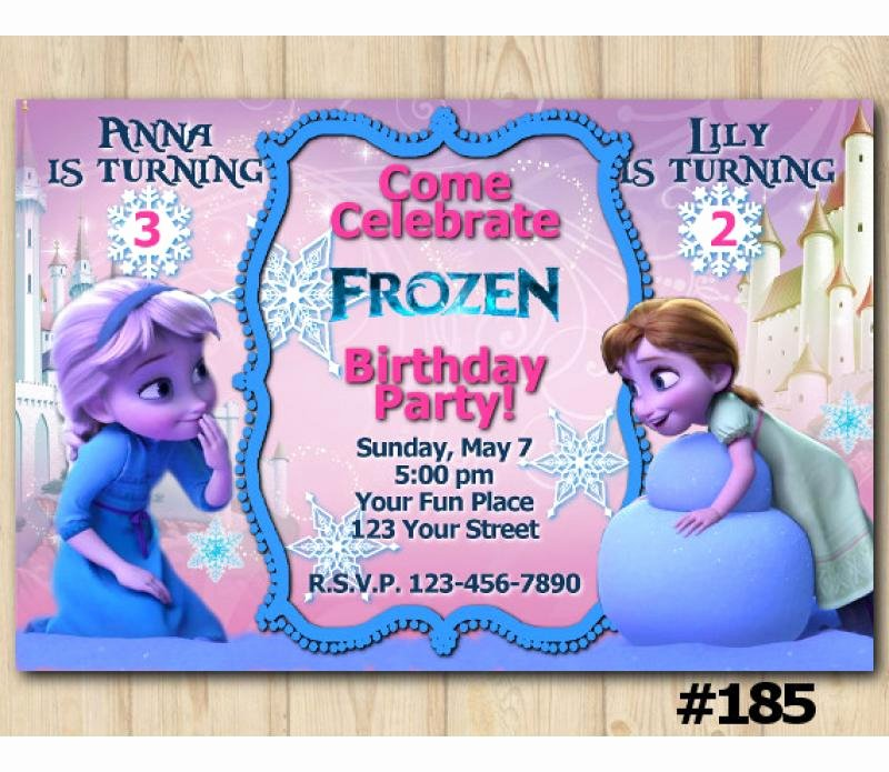 Custom Frozen Birthday Invitations Unique Disney Frozen Birthday Invitation with Elsa and Anna