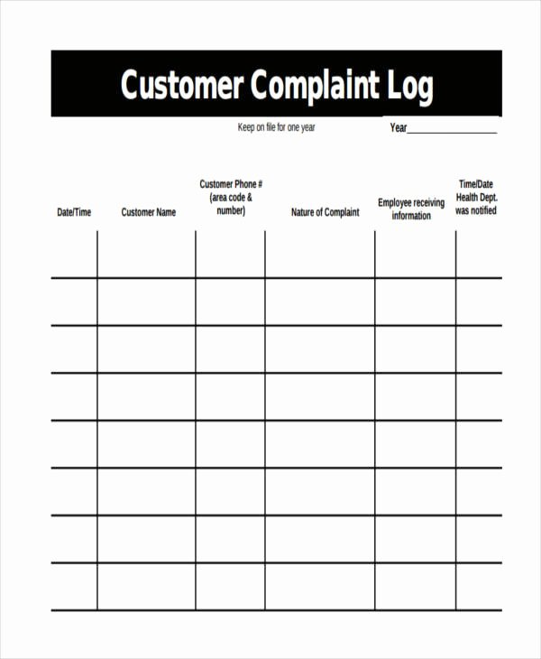 Customer Complaint Template for Excel Beautiful 33 Sample Log Templates Pdf Doc