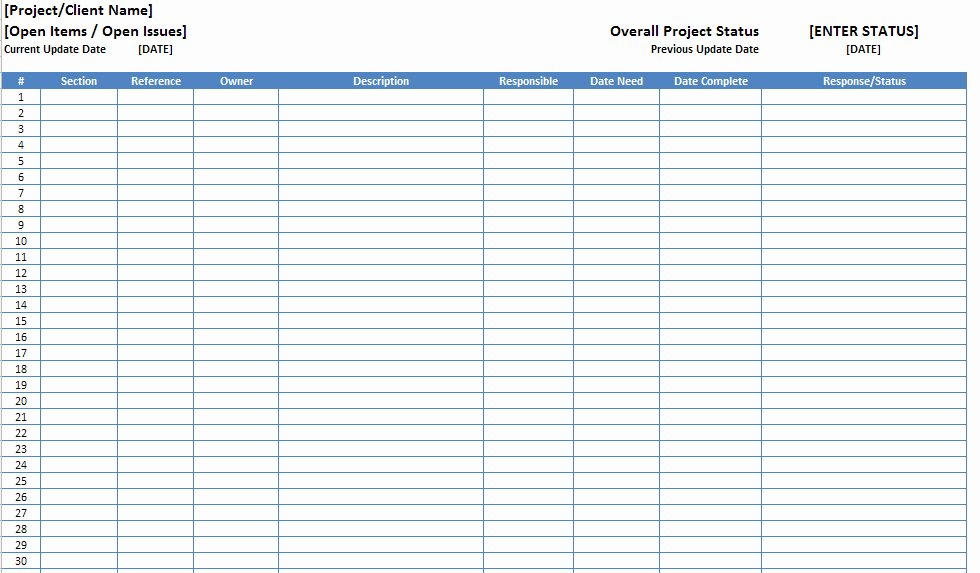 Customer Complaint Template for Excel Beautiful Open Items issues Log List Template Excel Xls Microsoft