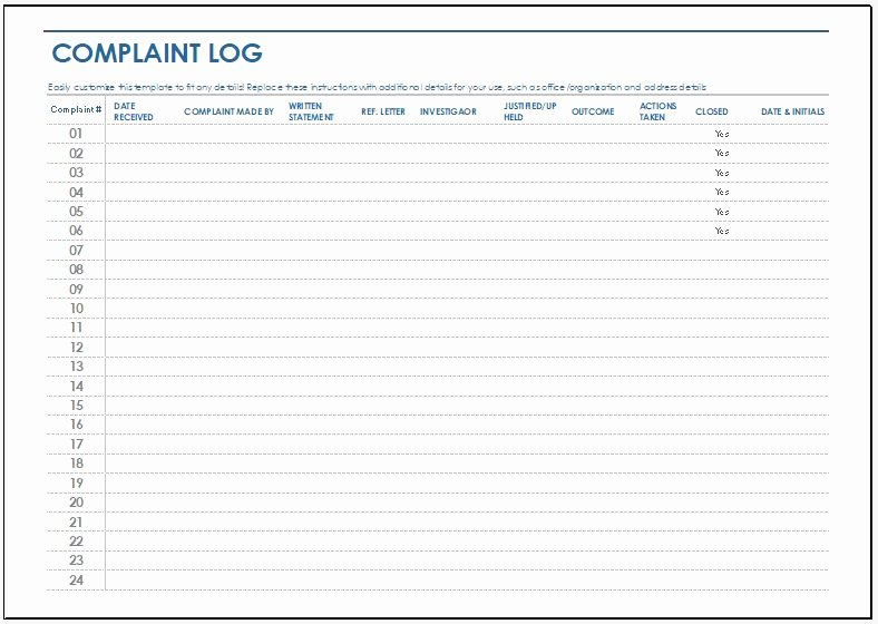 Customer Complaint Template for Excel Inspirational Plaint Log Template for Ms Excel