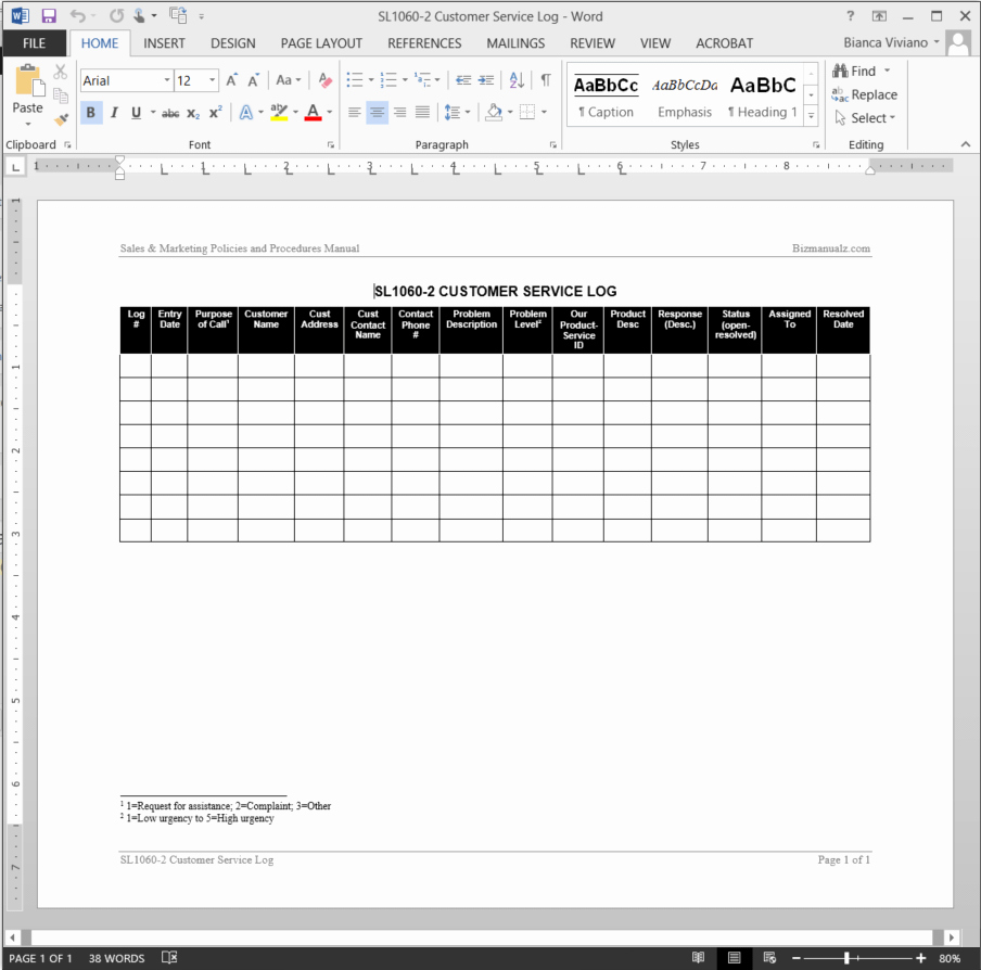 Customer Complaint Template for Excel Lovely Customer Service Log Template