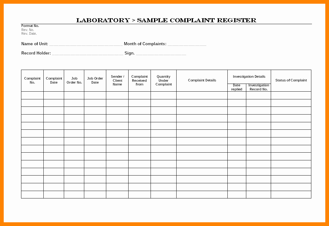 Customer Complaint Template for Excel New Plaints Register Template Excel Plaint Register