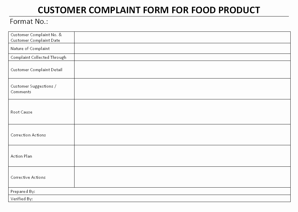 Customer Complaint Template for Excel Unique Food Products Customer Plaint form