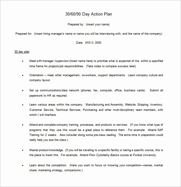 Customer Service Action Plan Examples Fresh 30 60 90 Day Action Plan Template
