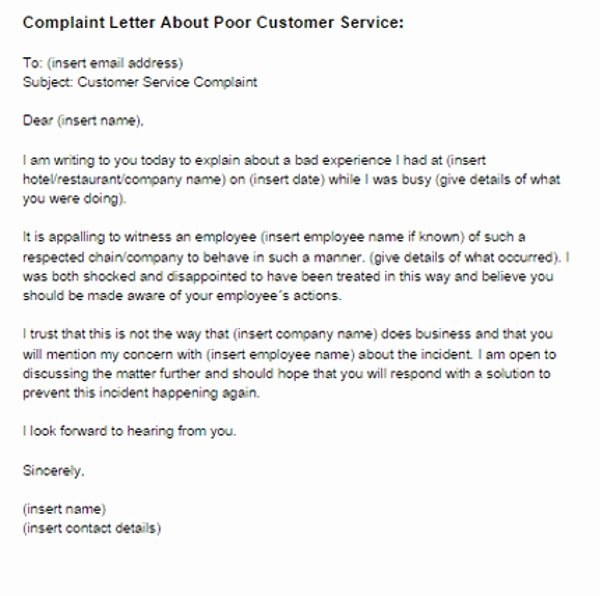 Customer Service Complaints Examples Unique 2 Plaint Letter to Service Provider Examples Pdf