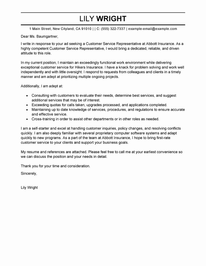 Customer Service Cover Letter Example Lovely Customer Service Cover Letter