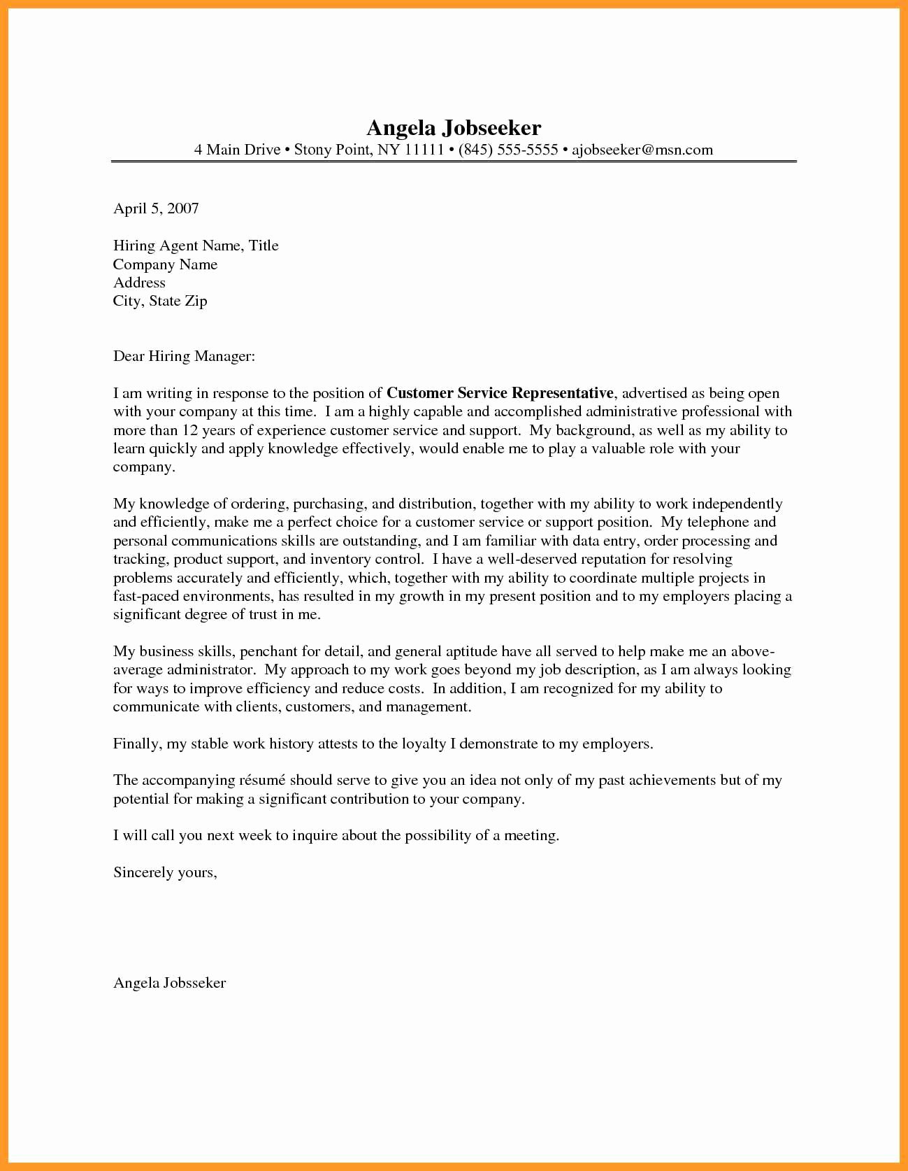 Customer Service Cover Letter Examples Fresh 9 10 Customer Relations Cover Letter