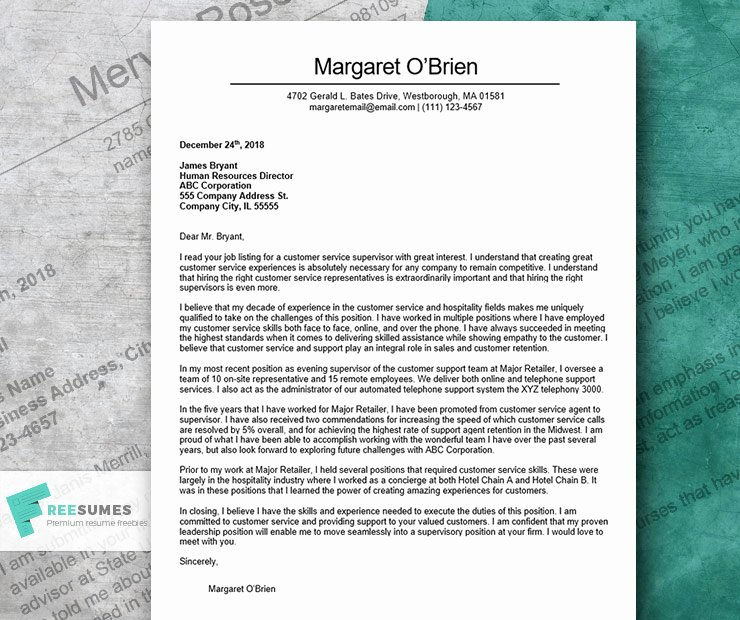 Customer Service Cover Letter Examples Fresh the Finest Cover Letter Example for Customer Service
