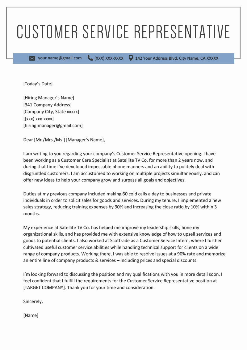 Customer Service Cover Letter Examples Unique Customer Service Representative Cover Letter Sample