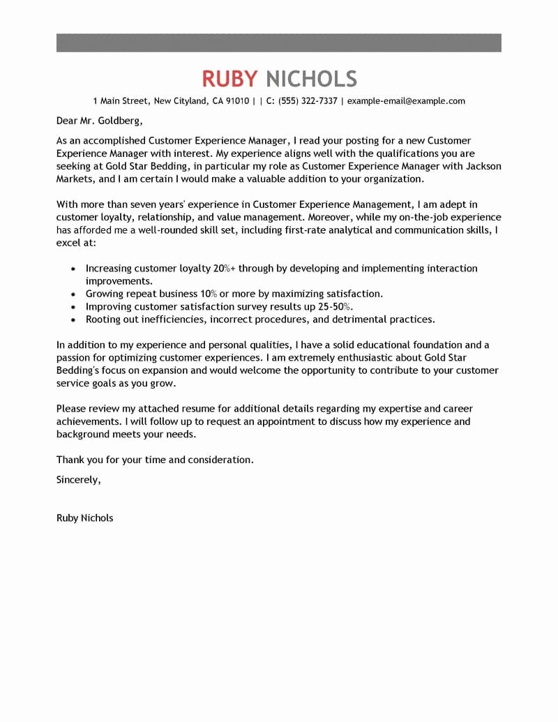 Customer Service Cover Letter Examples Unique Free Customer Experience Manager Cover Letter Examples