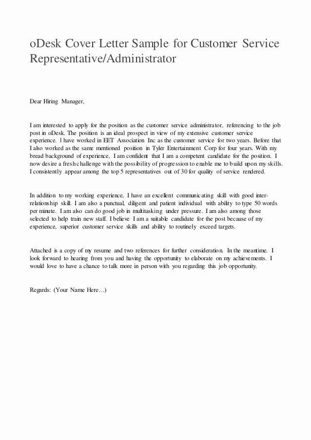 Customer Service Cover Letter Sample Awesome Odesk Cover Letter Sample for Customer Service