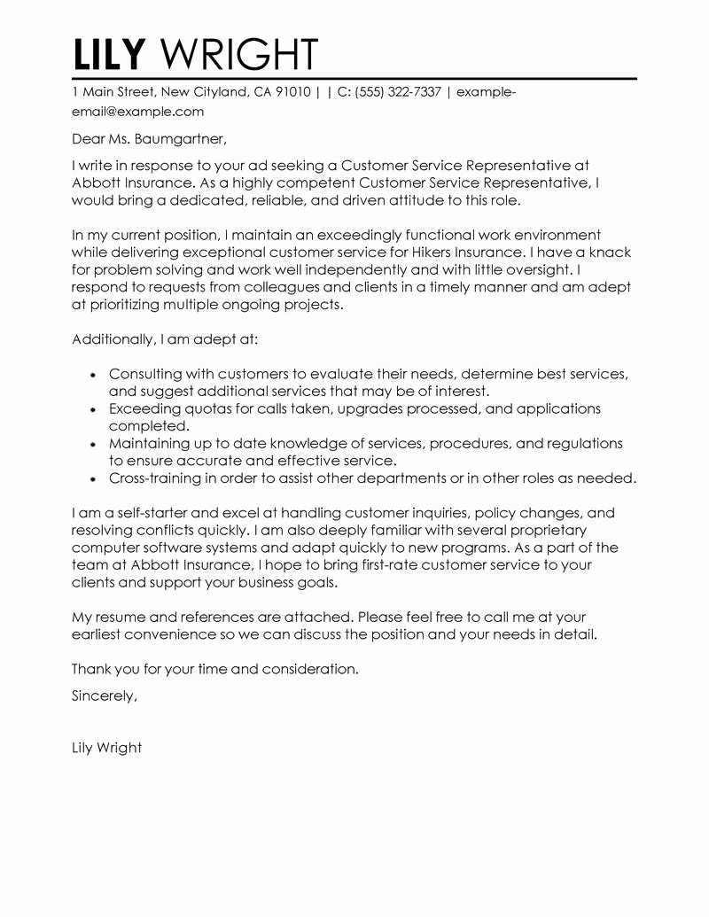 Customer Service Cover Letter Sample New Best Customer Service Representative Cover Letter Examples