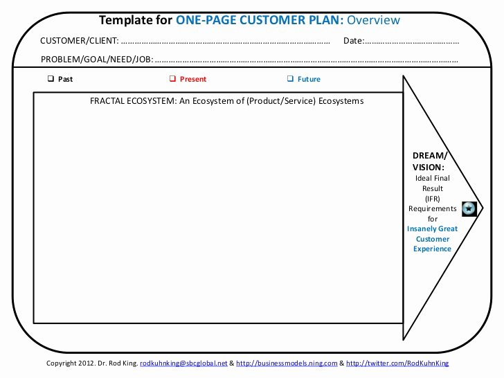 Customer Service Plan Template Awesome Template for One Page Customer Plan