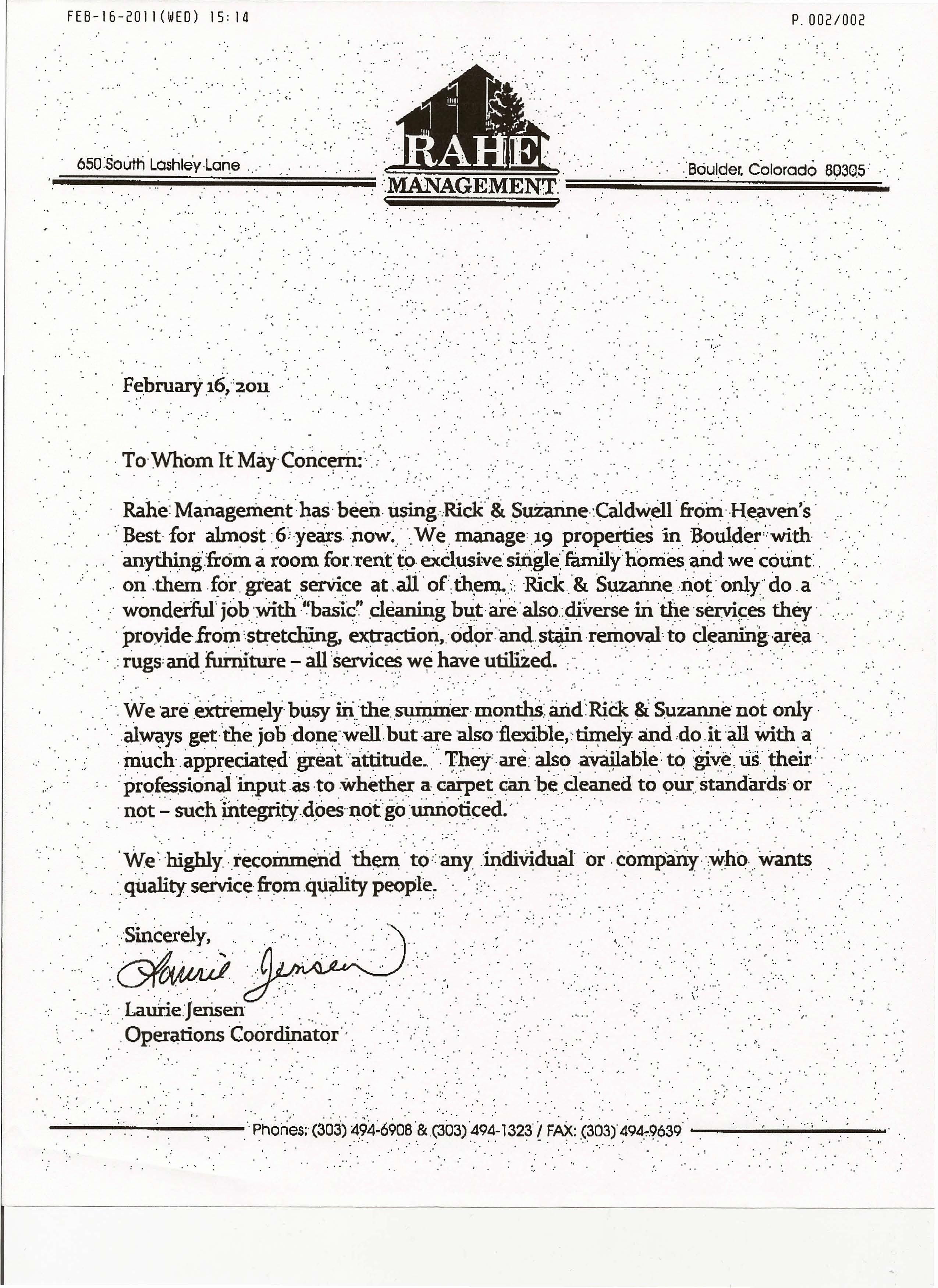 Customer Service Recommendation Letter Unique Heaven S Best Carpet Cleaning