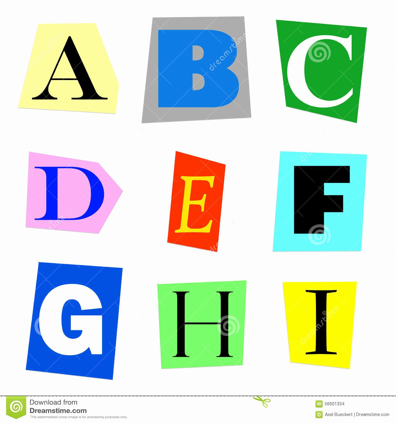 Cut Out Alphabet Letters New Cut Out Letters A to I Stock Illustration Image