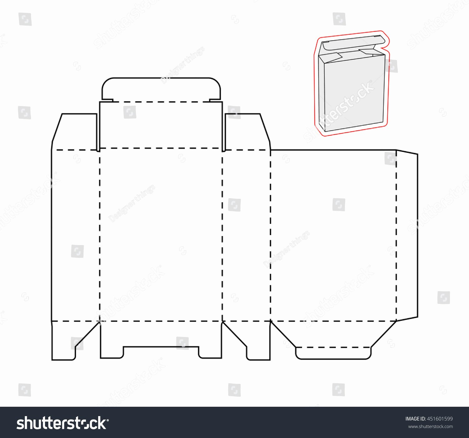 Cut Out Box Template Inspirational Template Simple Box Cut Out Paper Stock Vector