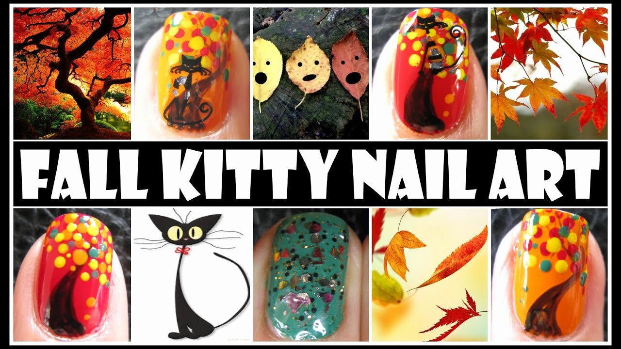 Cute Easy Fall Nail Designs Elegant Fall Nail Designs Fall Kitty Animal Nail Art Tutorial