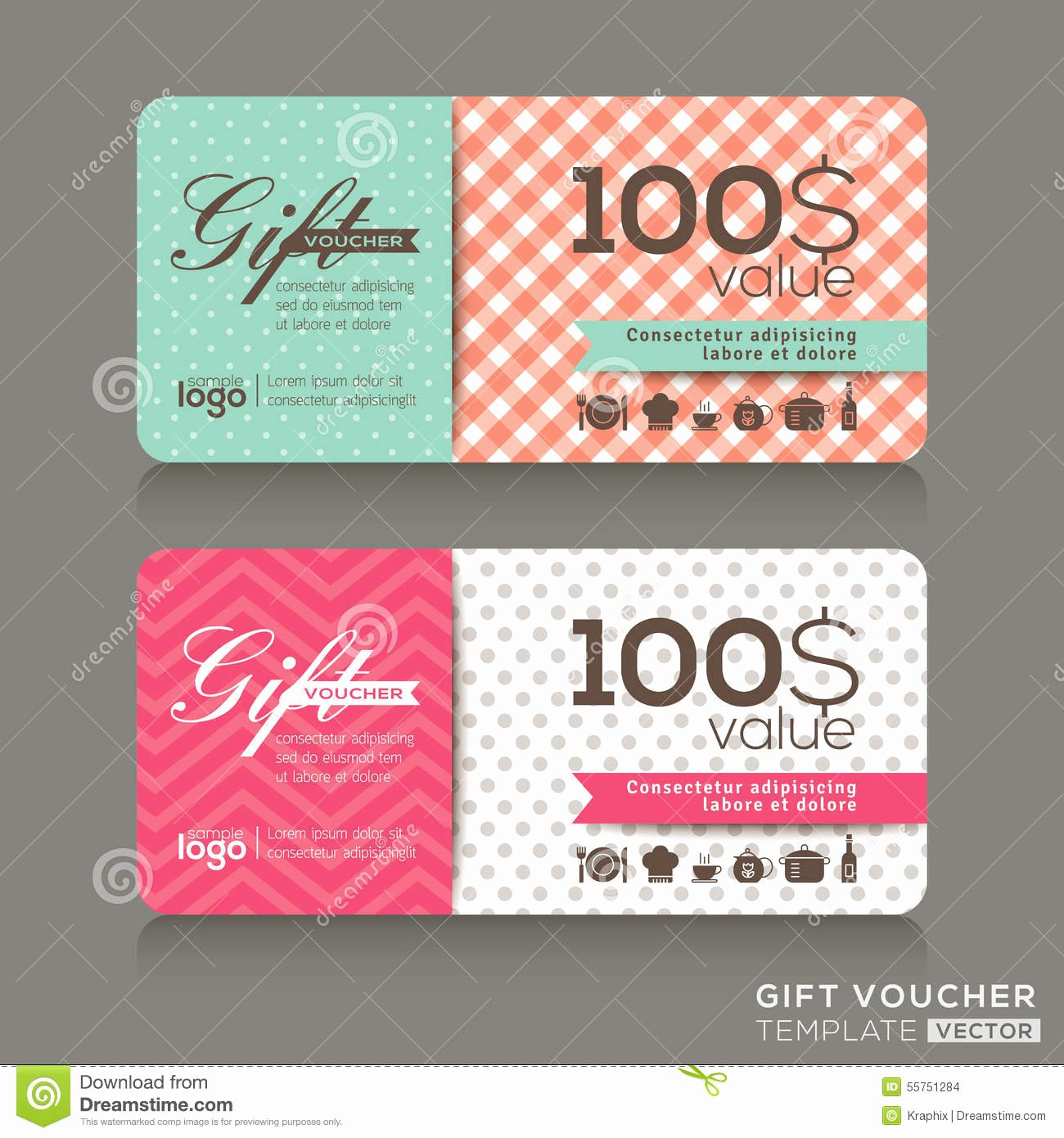 Cute Gift Certificate Template Awesome Cute Gift Voucher Certificate Coupon Design Template Stock