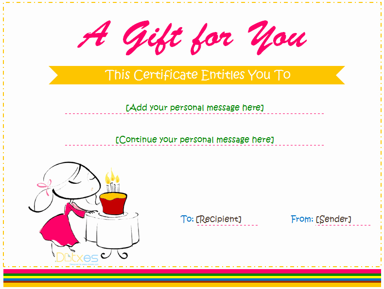 Cute Gift Certificate Template Beautiful Birthday Gift Certificate Template for Girls