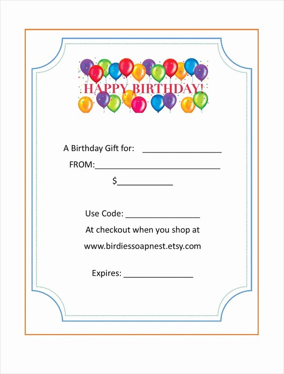 Cute Gift Certificate Template Fresh 20 Birthday Gift Certificate Templates Free Sample