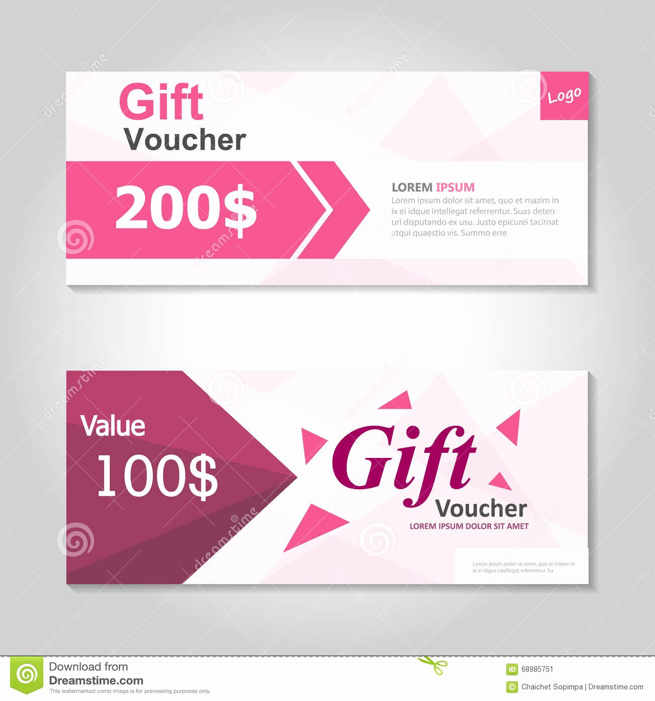 Cute Gift Certificate Template Lovely Cute Pink Gift Voucher Template Layout Design Set