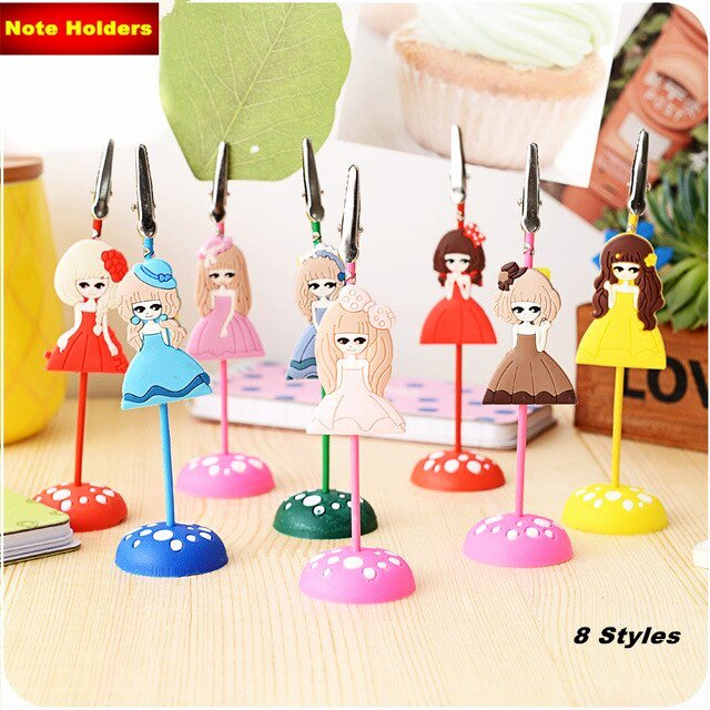 Cute Paper Clip Holder Lovely Memo Clips Stand Cute Princess Note Paper Holders Silicone