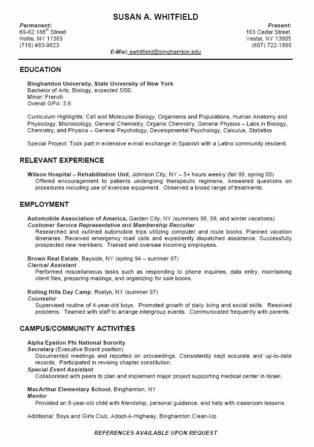 Cv Samples for Students Awesome College Resume format for High School Students