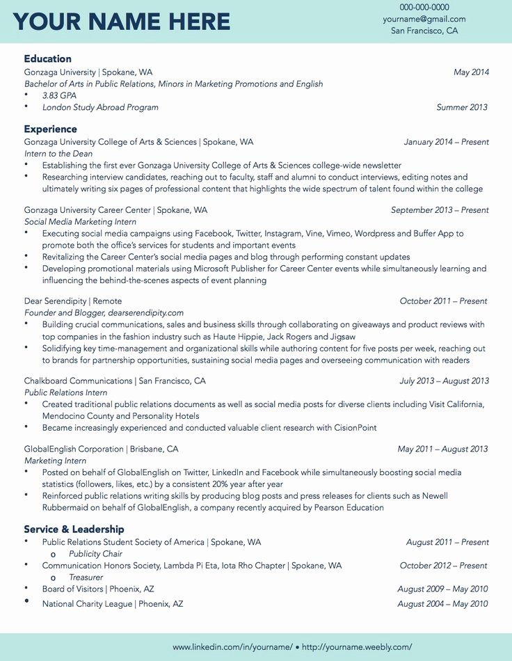 Cv Samples for Students Awesome Gonzaga University Sample Student Résumé