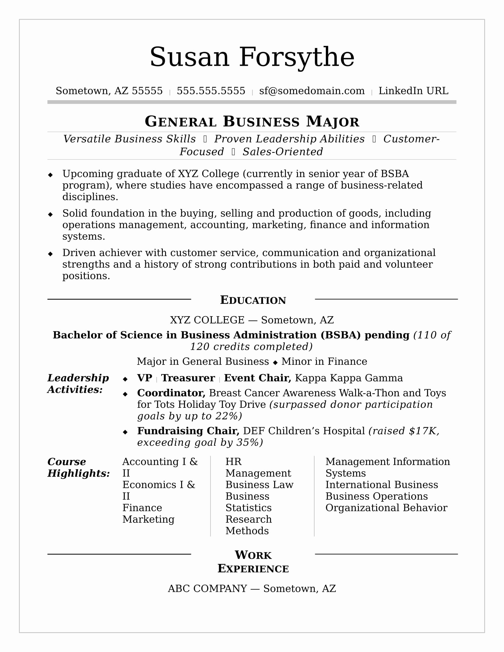 Cv Samples for Students Fresh College Resume Sample
