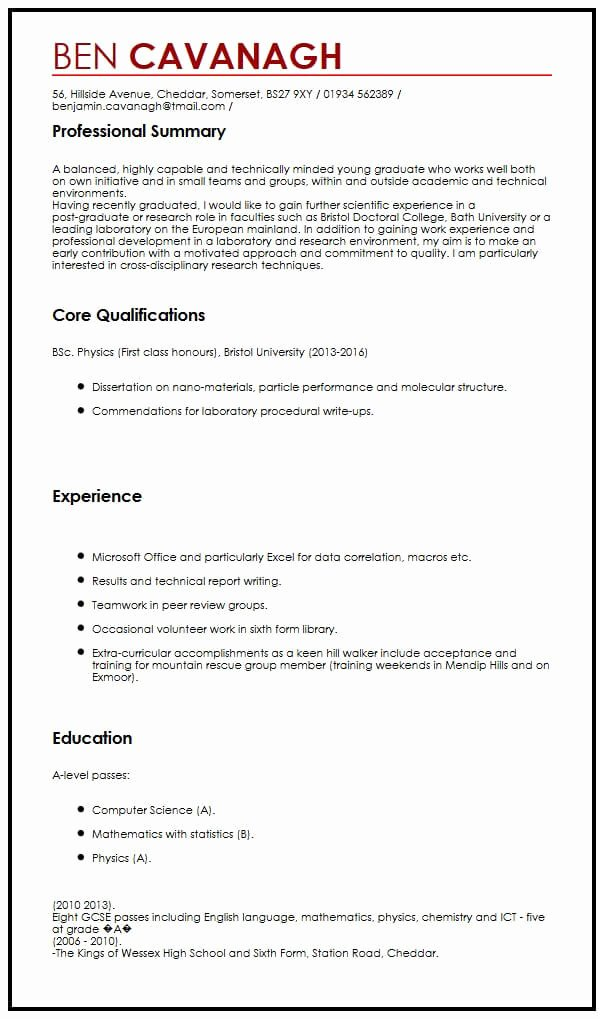 Cv Samples for Students Inspirational Cv Sample for Graduate School Cv Example for Graduate