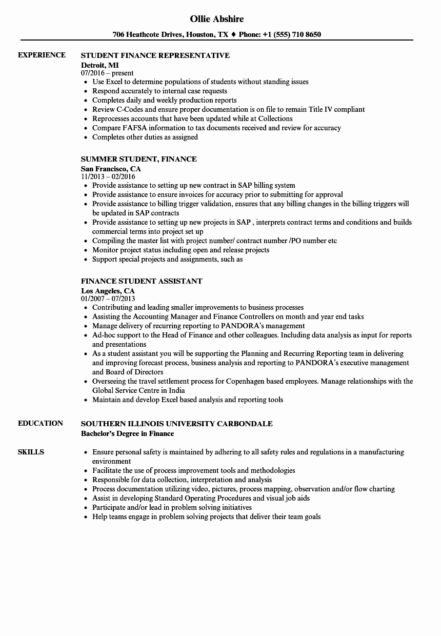 Cv Samples for Students Inspirational Finance Student Resume Samples