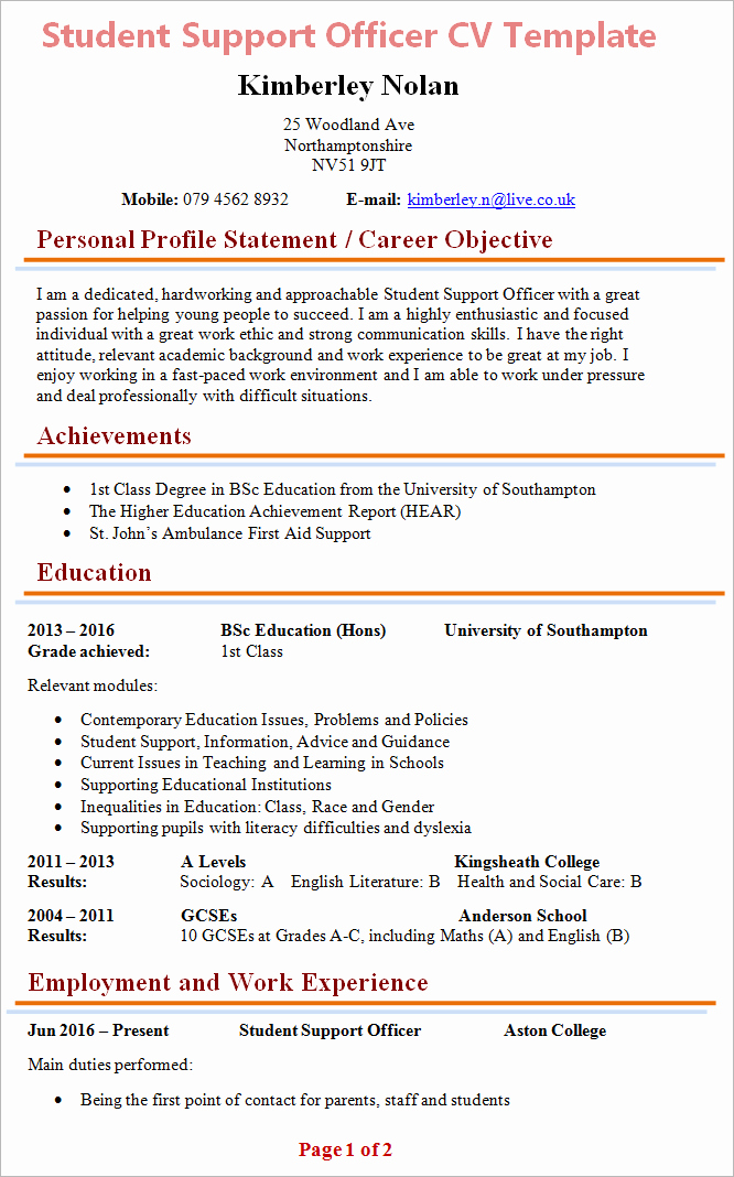 Cv Samples for Students Lovely Student Support Officer Cv Template 1