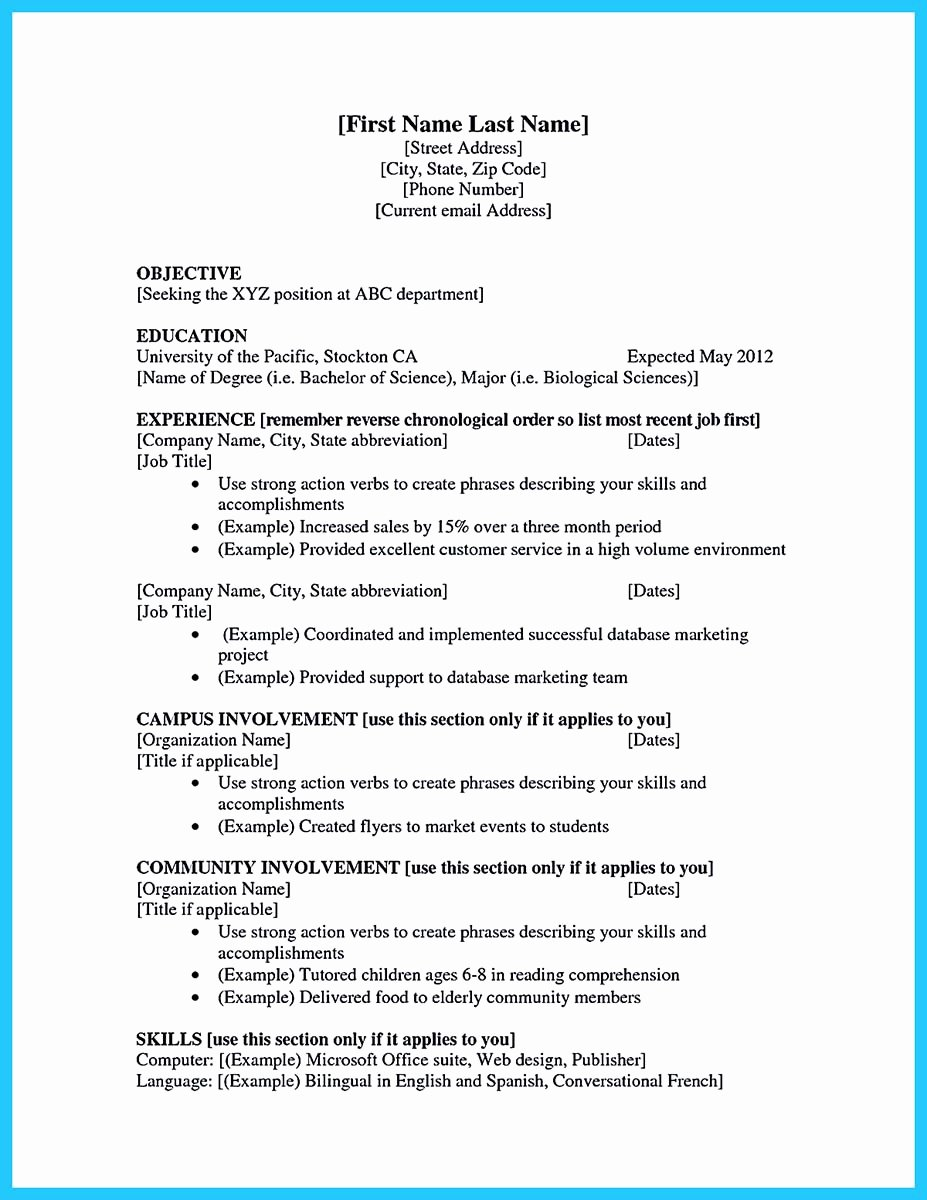 Cv Samples for Students Luxury Best Current College Student Resume with No Experience