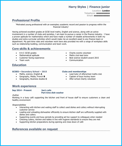 Cv Samples for Students Luxury Student Cv Template and Examples School Leaver