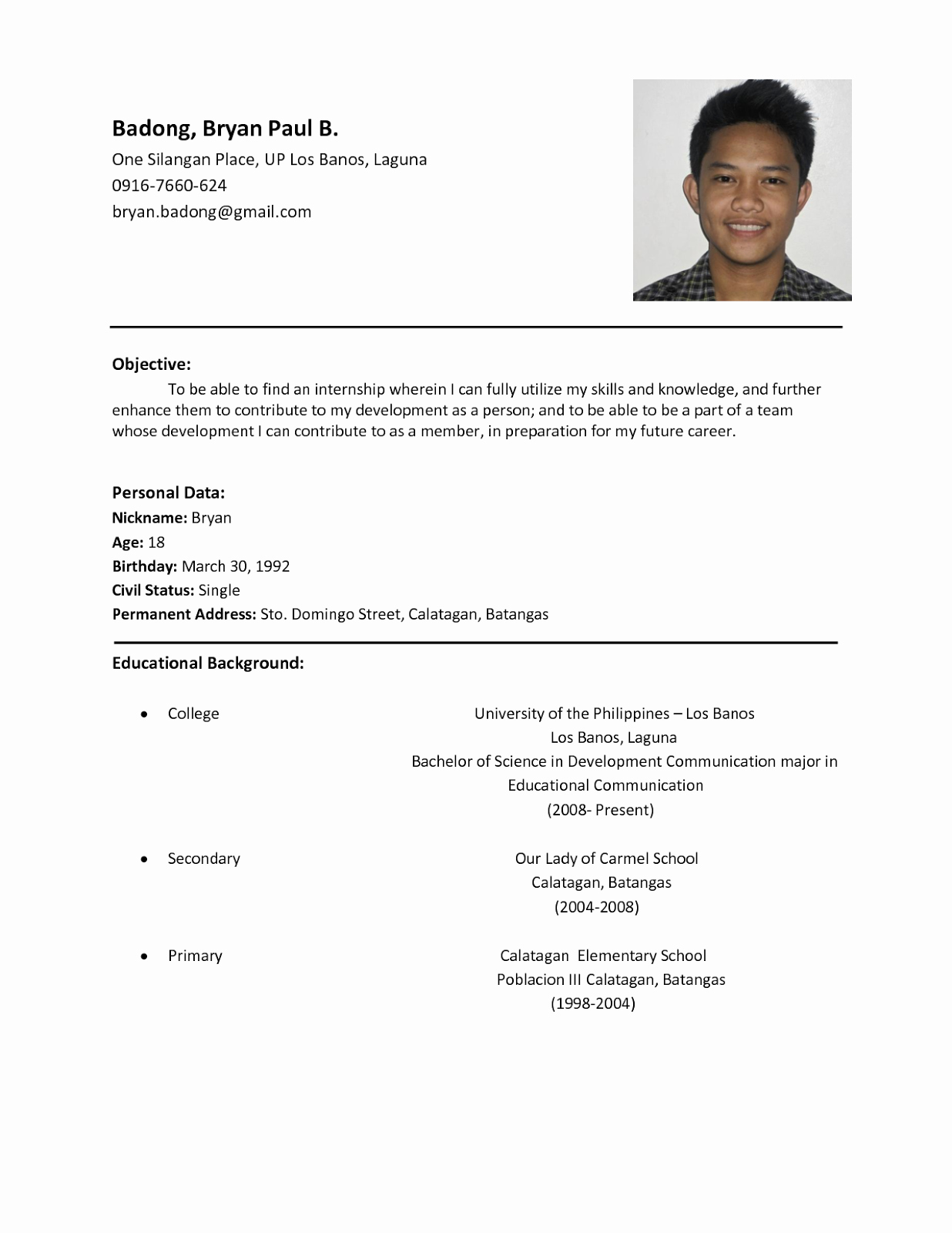 Cv Samples for Students New Sample Resume format for Students