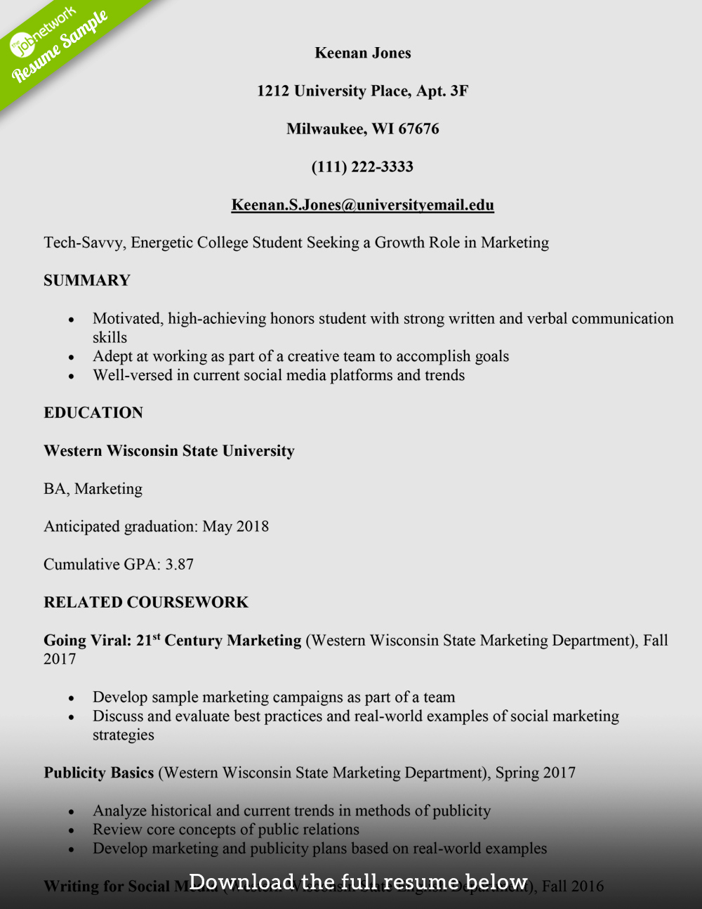 Cv Samples for Students Unique How to Write A College Student Resume with Examples