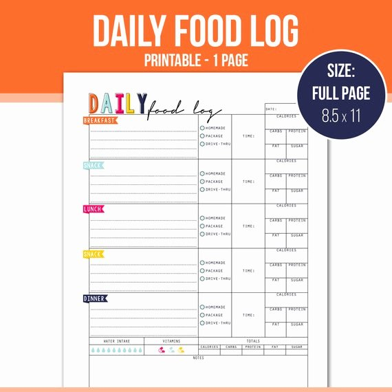 Daily Food Log Fresh Full Page Daily Food Log Planner Insert Meal by