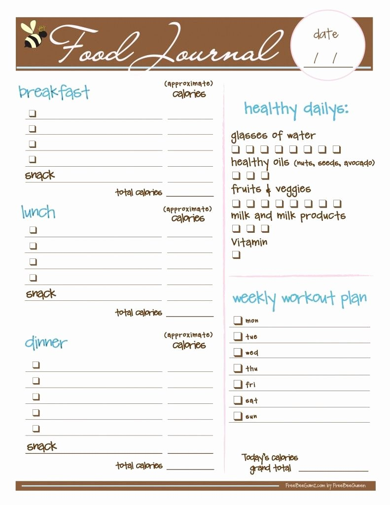 Daily Food Log Lovely Free Food Journal Love Want to Try the Idea Of Food
