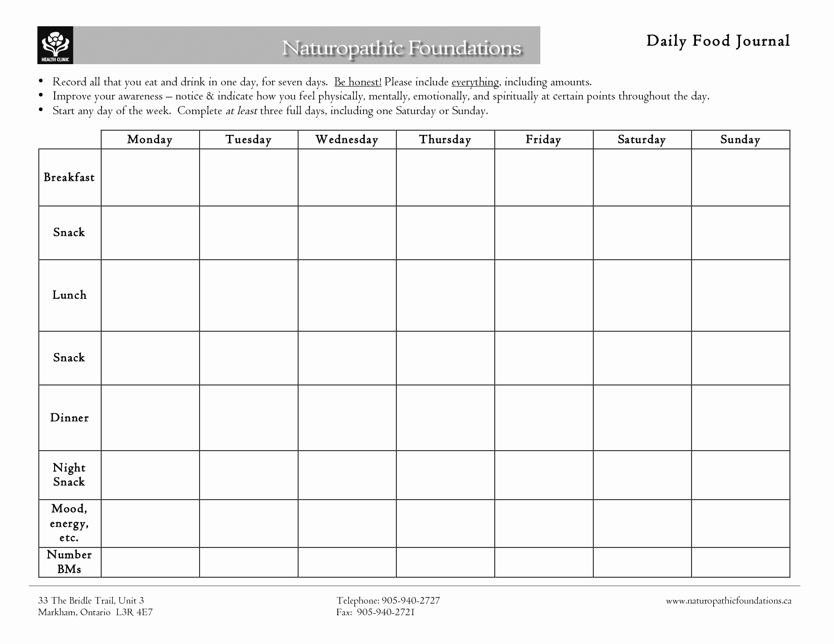 Daily Food Log Unique 7 Best Of Printable 7 Day Food Journal Printable