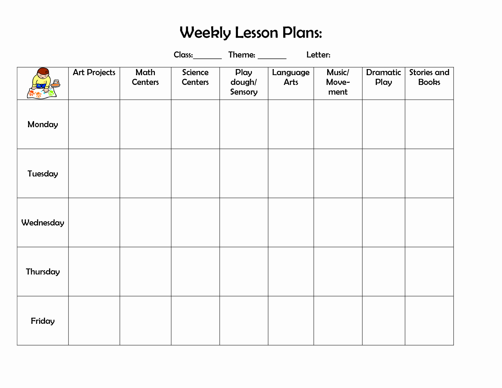 Daily Lesson Plan for Preschool Awesome Infant Blank Lesson Plan Sheets