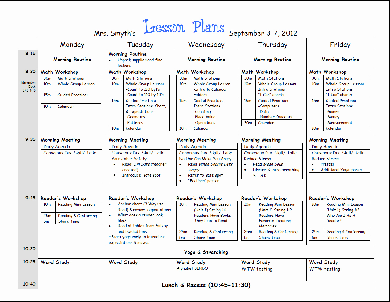 Daily Lesson Plan for Preschool Inspirational First Week Lesson Plans First Grade