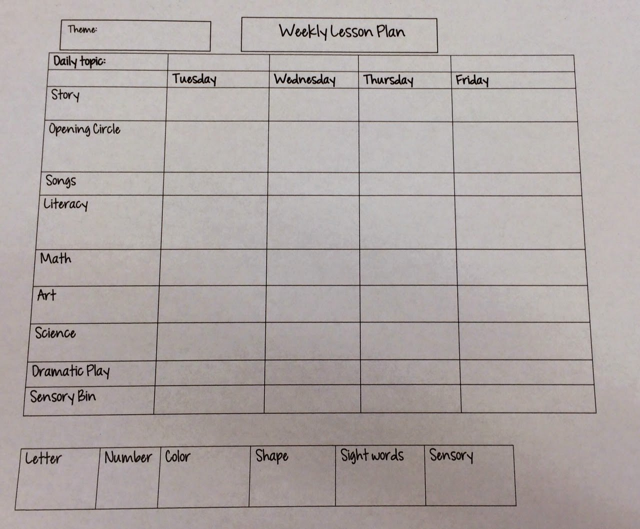 Daily Lesson Plan for Preschool Lovely Miss Nicole S Preschool Weekly Lesson Plan Template