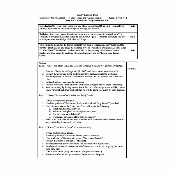 Daily Lesson Plan Template Doc Awesome Daily Lesson Plan Template 10 Free Word Excel Pdf