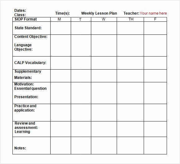Daily Lesson Plan Template Doc Elegant Free 7 Sample Weekly Lesson Plans In Google Docs
