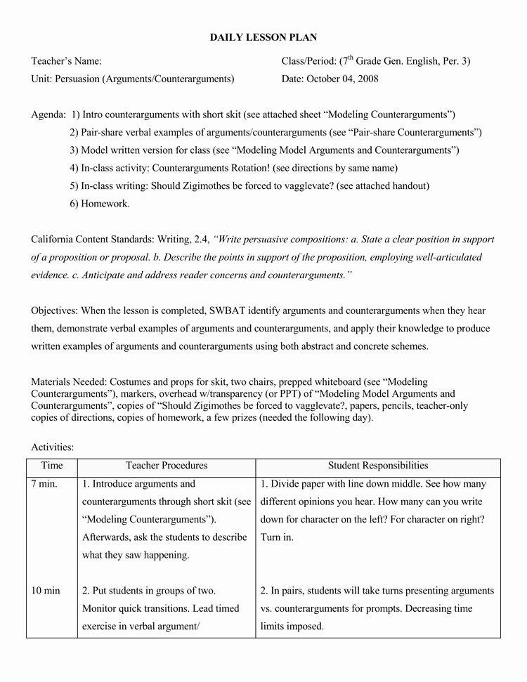 Daily Lesson Plan Template Doc Unique 14 Free Daily Lesson Plan Templates for Teachers